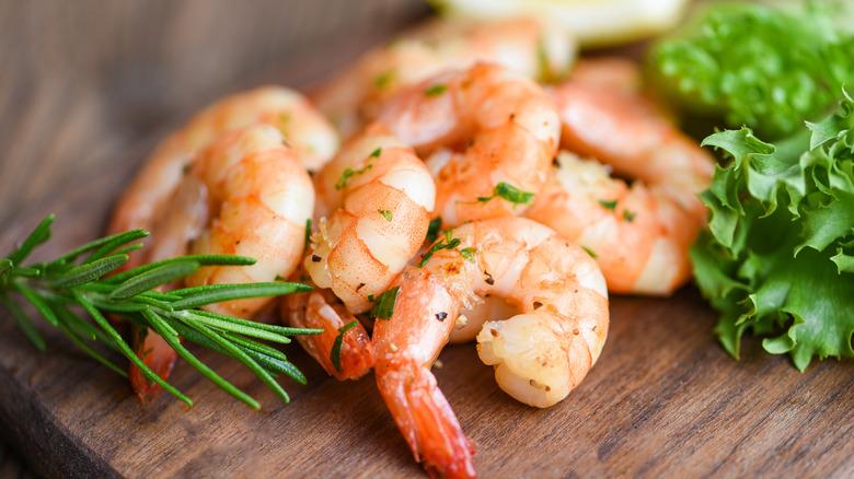 Shrimp on a board