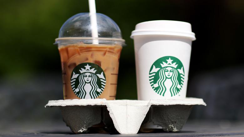 Two Starbucks drinks