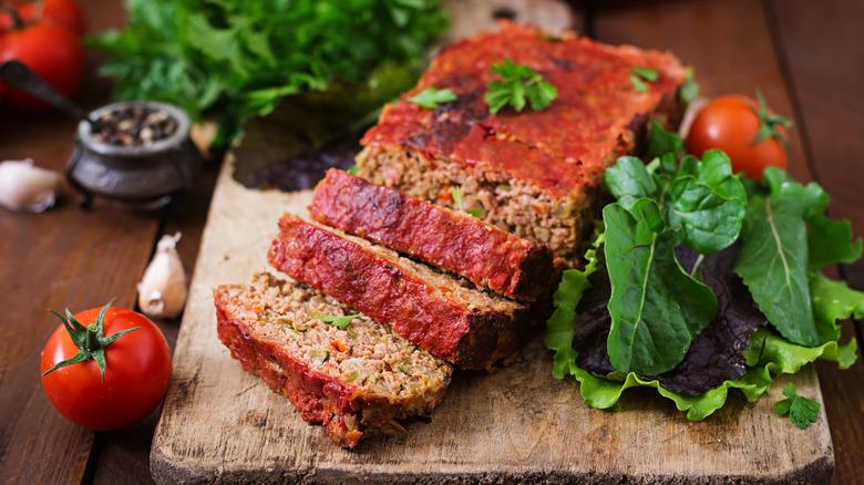 Whole, sliced meatloaf