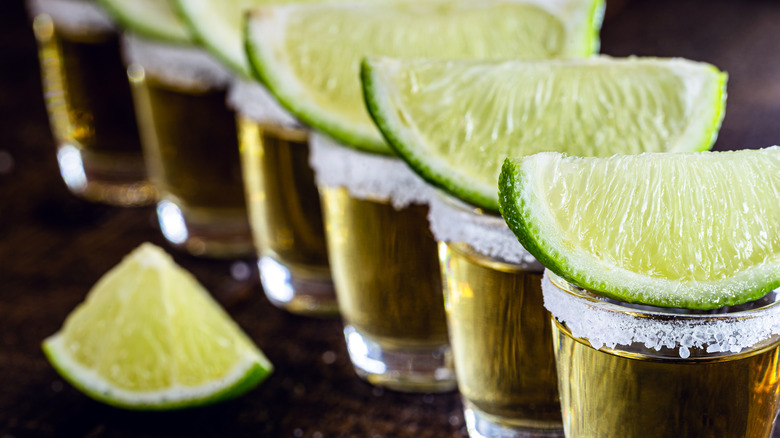 Shots of tequila with lime