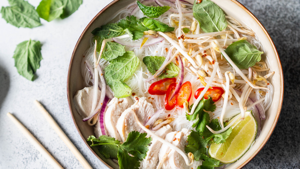 Pho with rice noodles