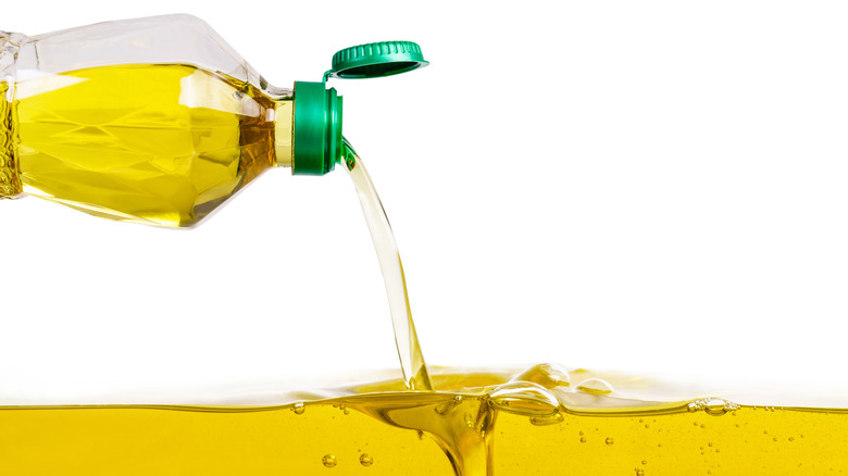 Vegetable oil pouring out