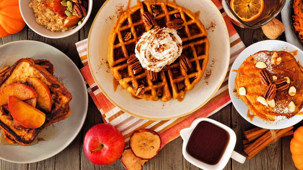 French toast, waffle, and pancake on a table