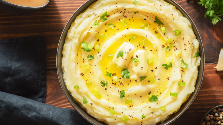 Buttery mashed potatoes in a bowl