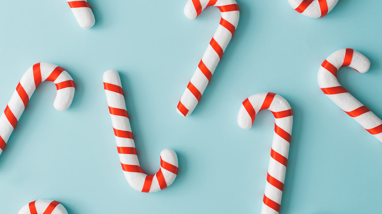 candy canes on teal