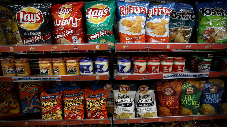 Variety of chips on American shelves