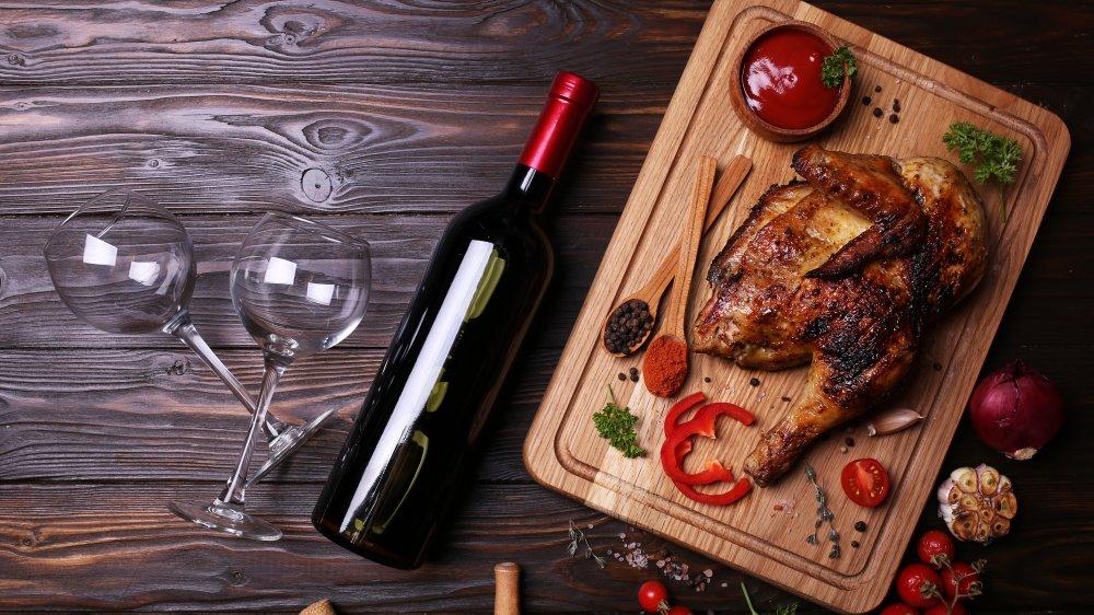 Roast chicken and wine