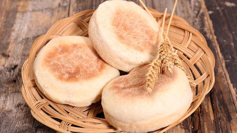 basket of English muffins