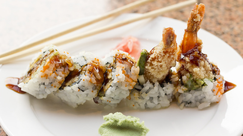 Tiger roll on plate with wasabi