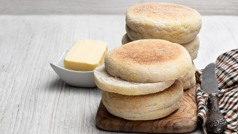 English muffins and butter