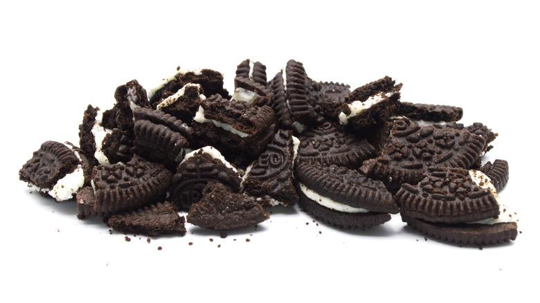 Broken Oreo cookie pieces