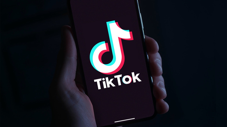 TikTok logo on screen
