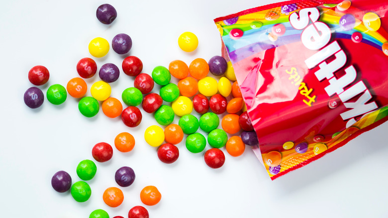 skittles poured from bag