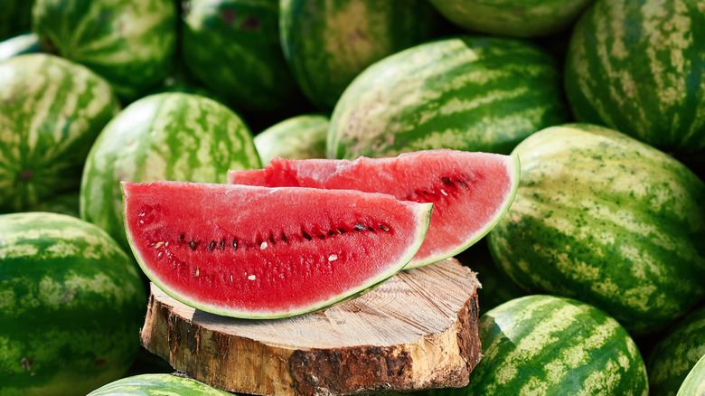Cut watermelon on a stump