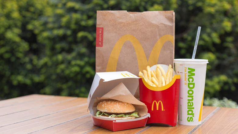 A burger, fries and a beverage from McDonald's