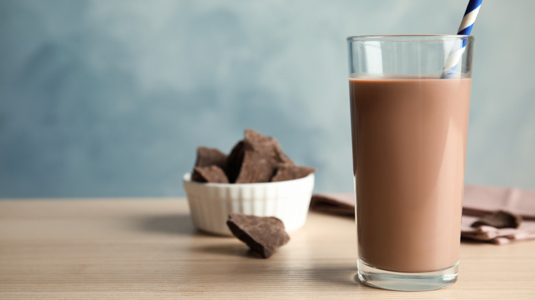 Chocolate milk on a brown wood table