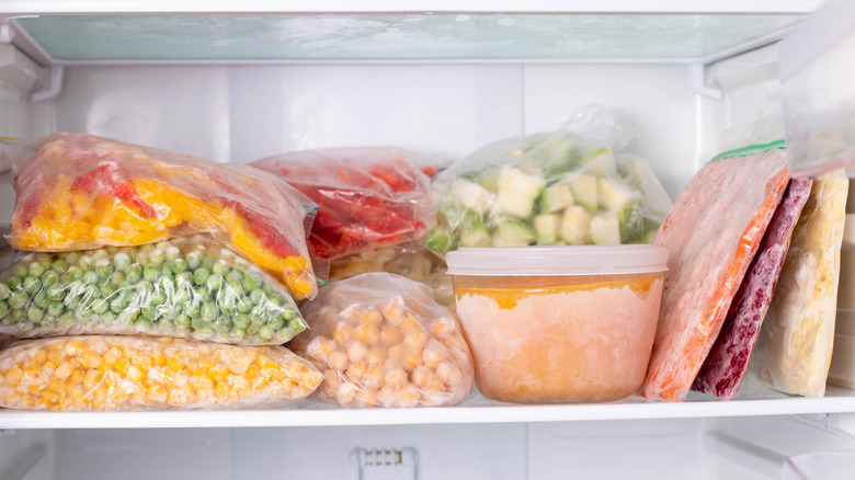 A variety of frozen food