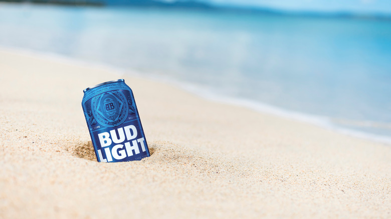 A can of Bud Light on the beach
