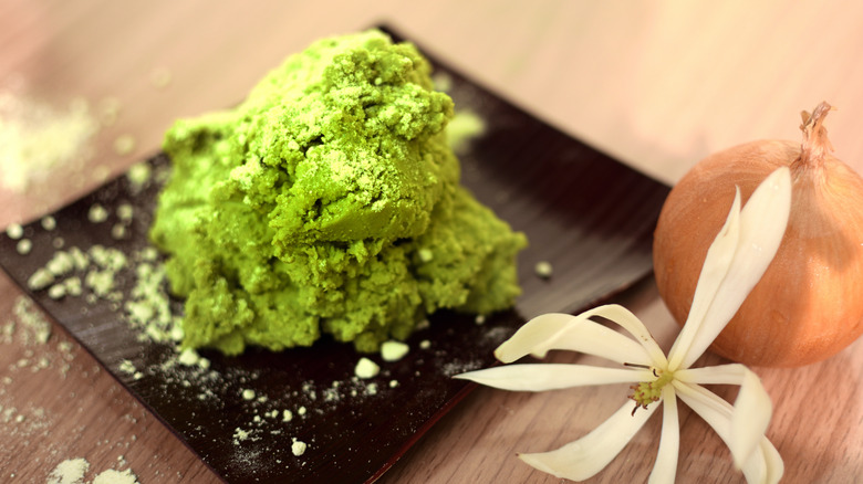 Lump of wasabi on a plate