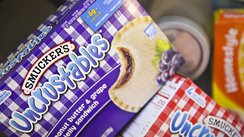 Boxes of Smuckers Uncrustable sandwiches