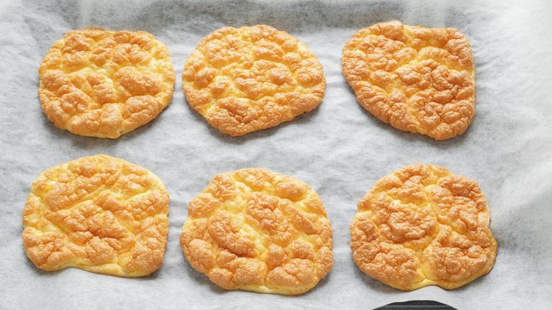 baked cloud bread on a baking sheet