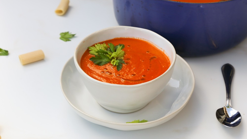 tomato soup in bowl