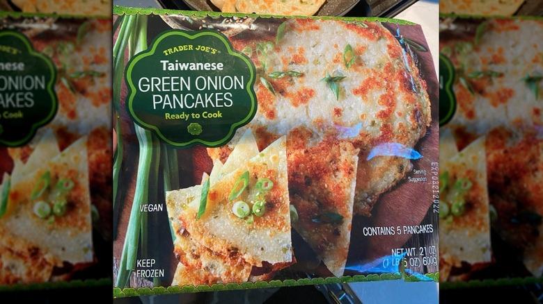 Closeup of green onion pancake package