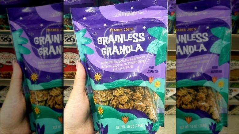 Hand holding Trader Joe's granola