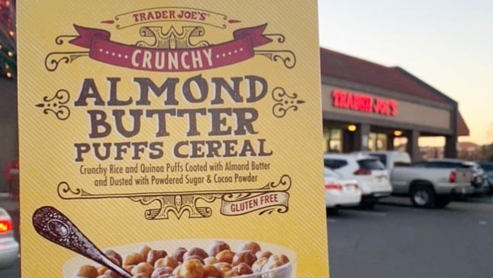Trader Joe's Almond Butter Puffs cereal held up