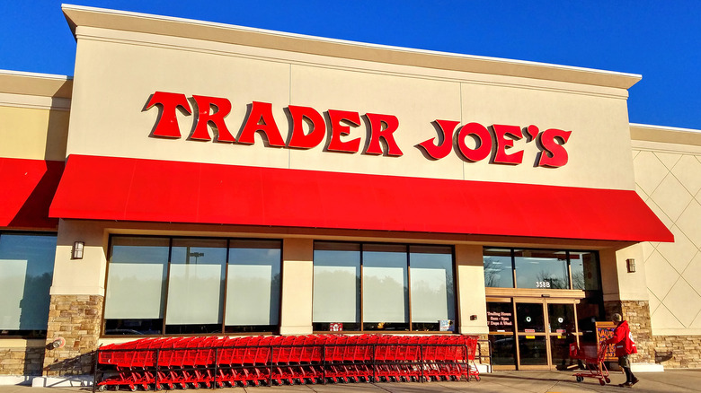 Exterior shot of Trader Joe's building with shopping carts