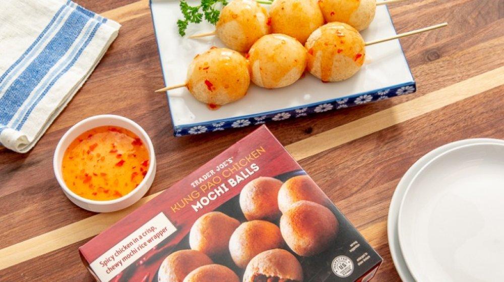 Prepared kung pao chicken mochi balls