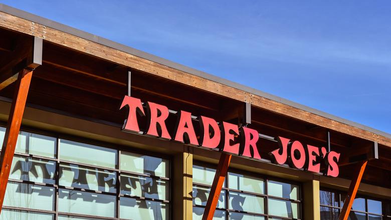 Trader Joe's storefront against blue sky