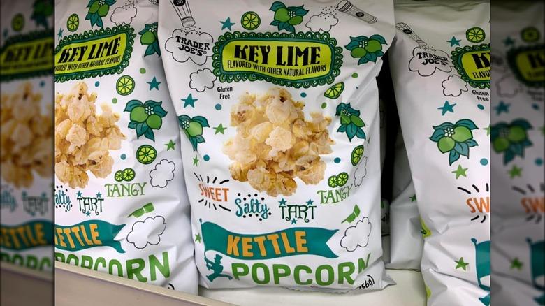 Bags of Trader Joe's popcorn on shelves