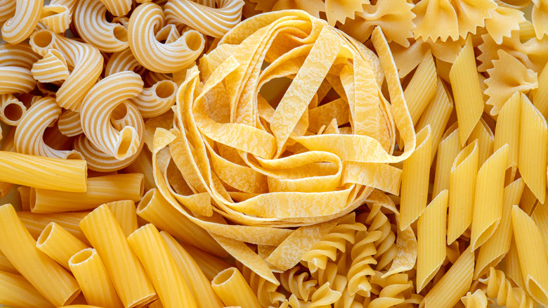 Different pasta types all grouped together