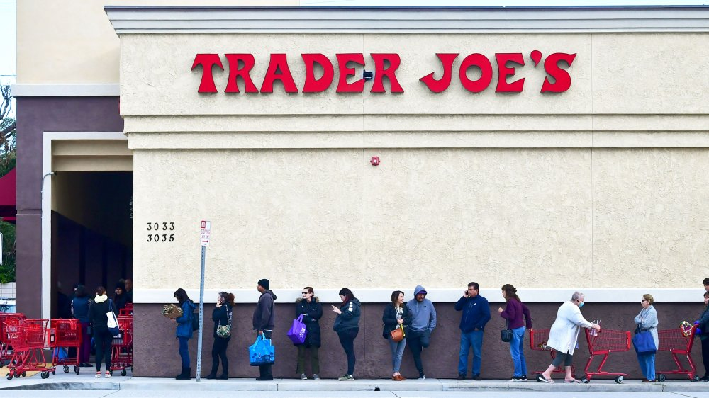 people lined up outside Trader Joe's
