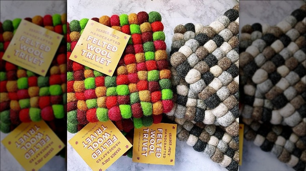 Colorful wool trivets from Trader Joe's