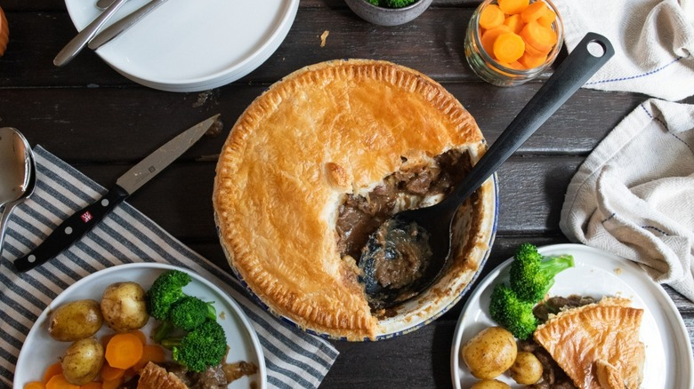 Forkful of steak and kidney pie