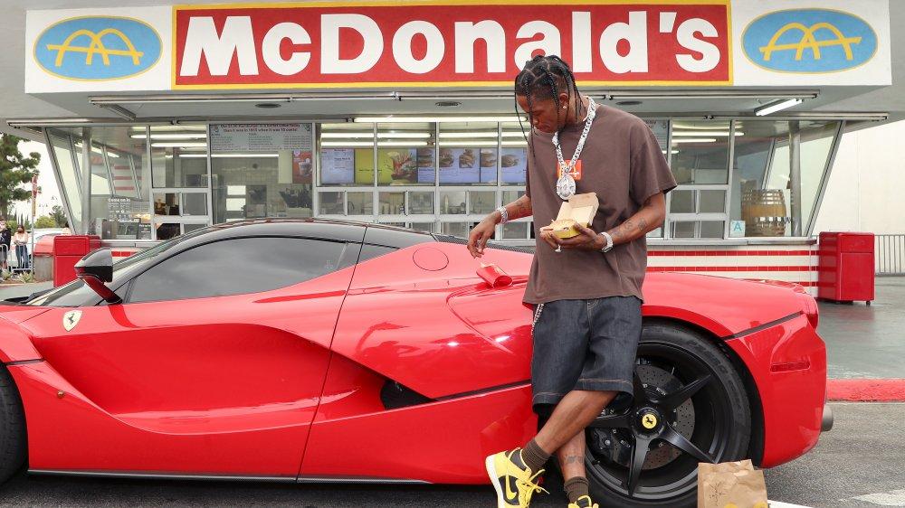 Travis Scott and his Ferrari at McDonald's