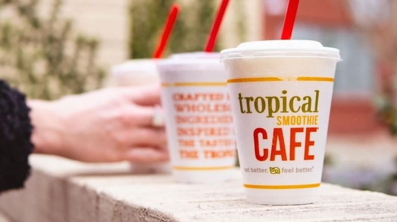 Tropical Smoothie Cafe smoothies on ledge