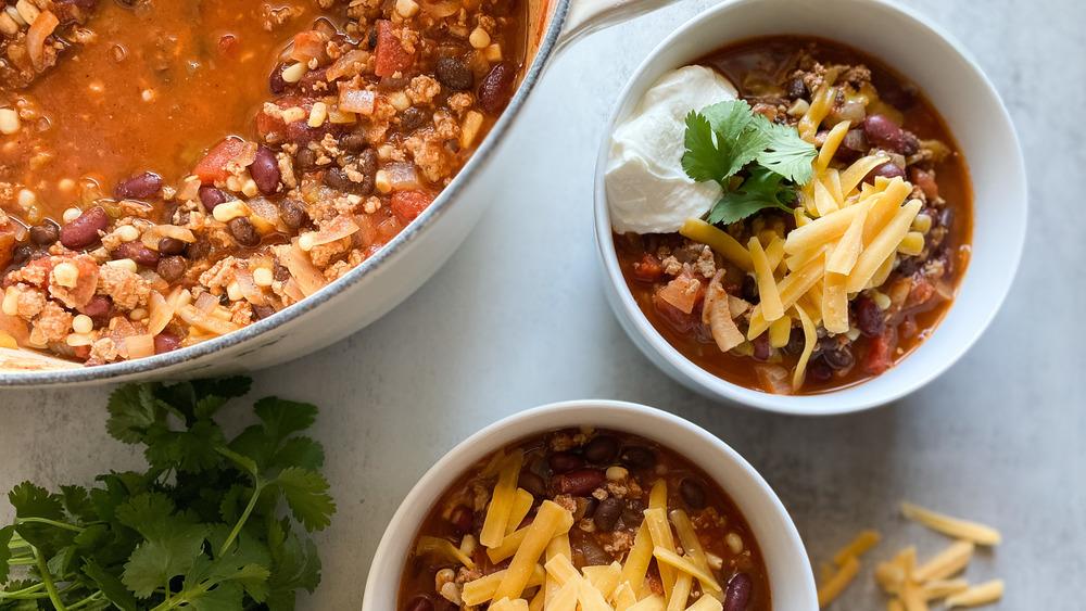 bowls of turkey chili