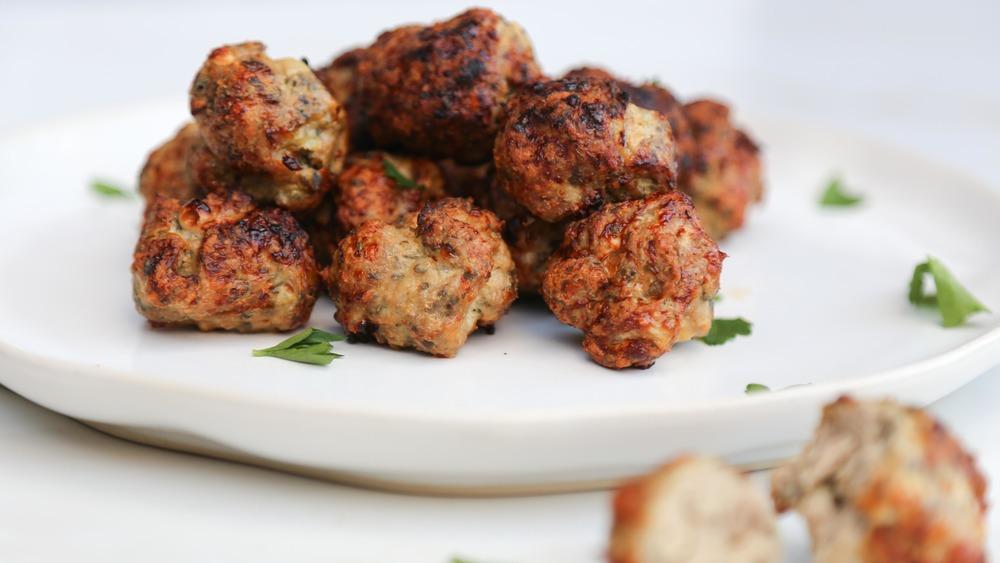 turkey meatballs on display