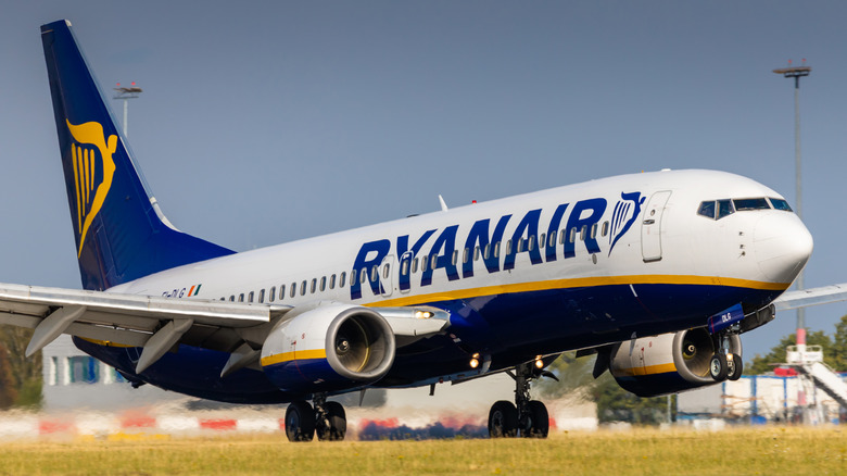 Ryanair airplane about to take off