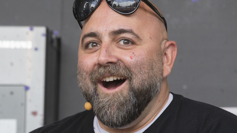 Duff Goldman interacts with the crowd at the culinary stage during BottleRock in Napa, California. Duff is the host of Food Network's Ace of Cakes.