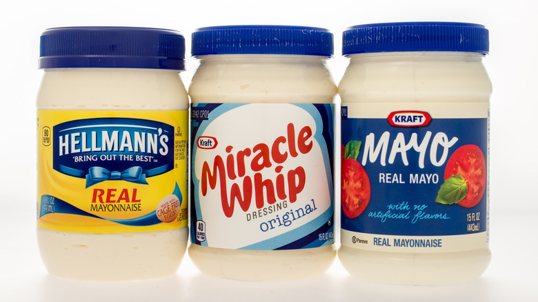 Miracle Whip, Hellmann's and Kraft mayonnaise jars
