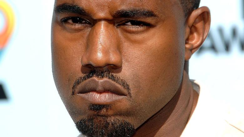 Kanye West scowling