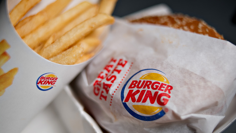Burger King sandwich and fries in wrappers
