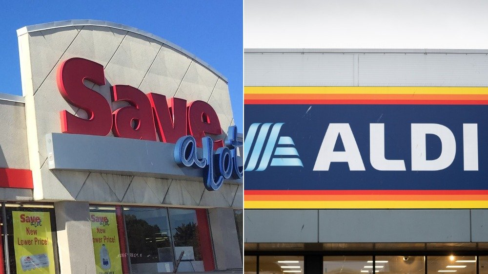 Save A Lot and Aldi store signs