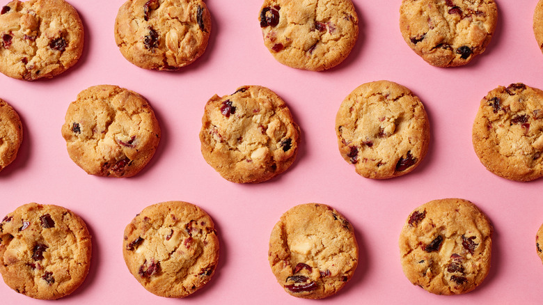 Fresh cookies on a pink background