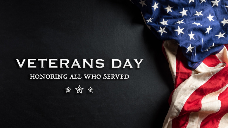 black background with American flag and thank you veterans message