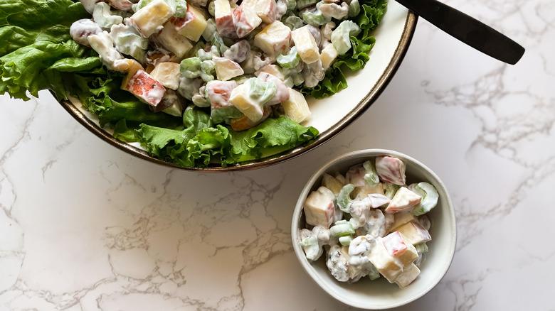 Waldorf salad in bowls